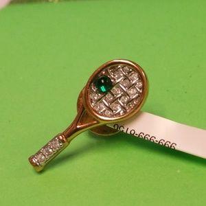 Swarovki Brand Tennis Racket Pin Brooch Tie Tac